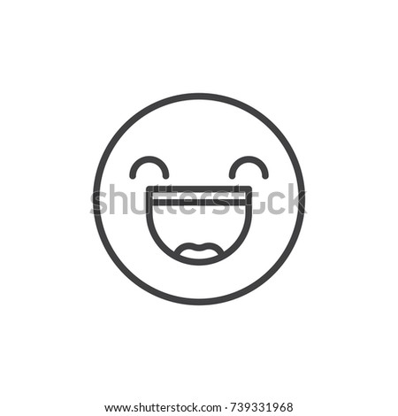 Smiling face with open mouth and smiling eyes emoticon line icon, outline vector sign, linear style pictogram isolated on white. Emoji smiley symbol, logo illustration. Editable stroke