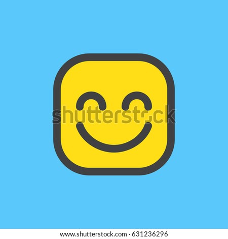Smiling Face With Smiling Eyes emoji. Filled outline icon, colorful vector emoticon