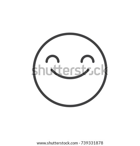 Smiling face with smiling eyes emoticon line icon, outline vector sign, linear style pictogram isolated on white. Emoji smiley symbol, logo illustration. Editable stroke