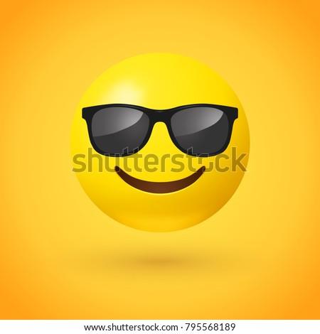 Smiling face with sunglasses emoji - emoticon with smiling face wearing dark sunglasses that is used to denote a sense of cool
