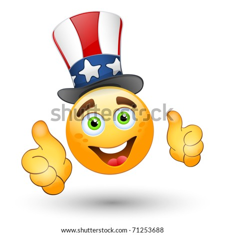 patriotic smiley giving thumbs up