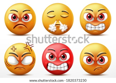 Smiling faces emoticon character set, Facial expressions of cute yellow faces in angry and furious. 3D realistic vector illustration Foto stock ©