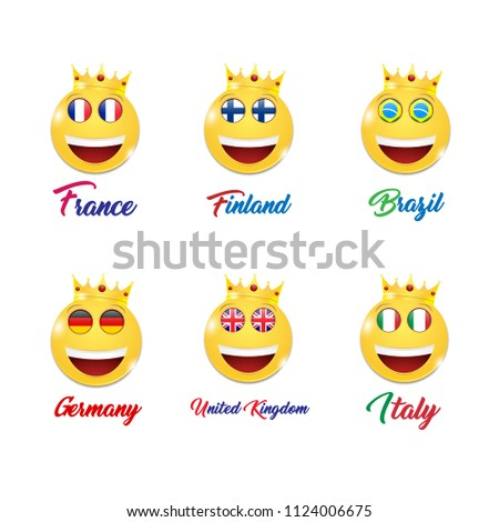 Smiling faces ,icon set .Smile set, vector .Set of flags of different countries