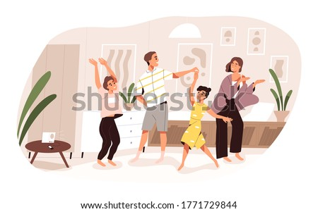 Smiling family dancing having fun at home vector flat illustration. Joyful parents and kids clapping hands and demonstrate dance movements isolated. Happy active people spending time together