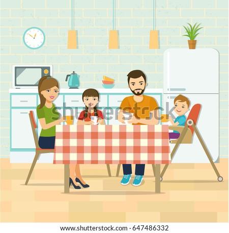Smiling family having dinner in kitchen.Family drinks tea. Vector flat style illustration
