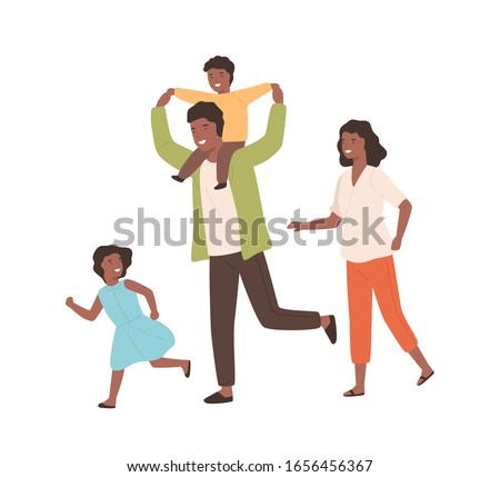 Smiling family playing having fun together vector flat illustration. Happy parents and children running have positive emotion isolated on white. Black skin cartoon people rejoicing stock photo