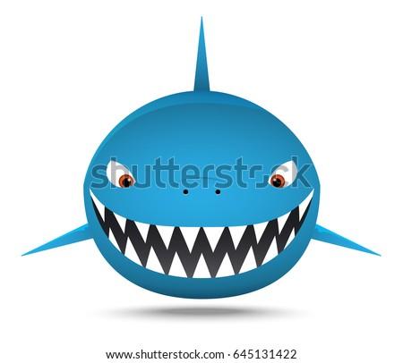 smiling fat shark  cartoon