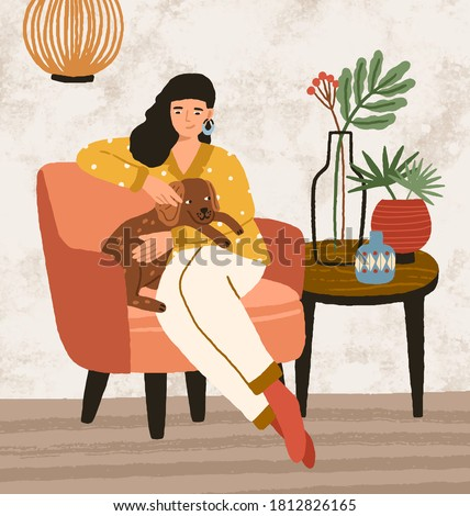 Smiling female hugging and stroking cute dog sitting on armchair vector flat illustration. Joyful woman spending time with lovely domestic animal at cozy interior. Happy pet owner relaxing at home Photo stock ©