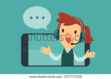 Smiling female operator with headset speaking from screen of a smart phone. Customer service concept.