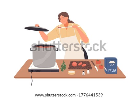 Smiling female preparing tomato sauce to pasta vector flat illustration. Happy housewife cooking and trying food on kitchen table isolated on white. Woman in apron during meal preparation