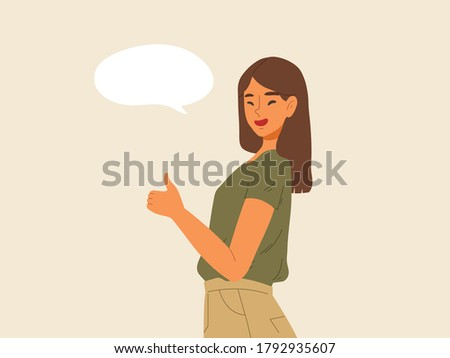 Smiling female thumps up with blank speech bubble. Concept of compliment, preference, empty bubble,confirmation, guarantee, certify action, warrant, liking. Flat vector illustration cartoon character. Zdjęcia stock ©