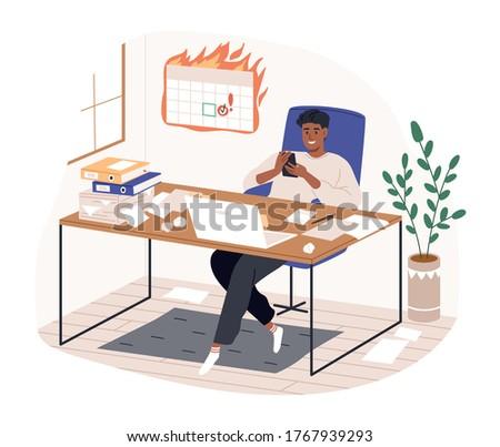 Smiling freelancer black man sitting on desk surfing internet use smartphone vector flat illustration. Modern guy procrastinating at home office isolated on white. Remote work disadvantages