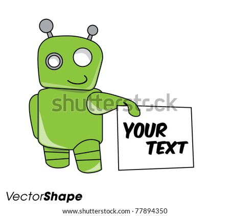 smiling friendly green robot