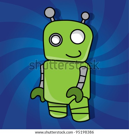 Smiling friendly green robot toy on dynamic background, vector illustration