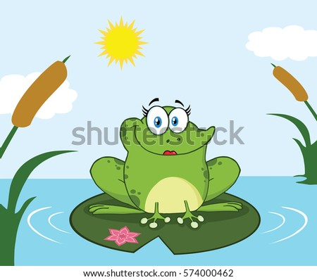 smiling frog female cartoon
