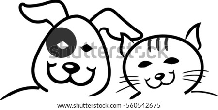smiling  funny dog and cat