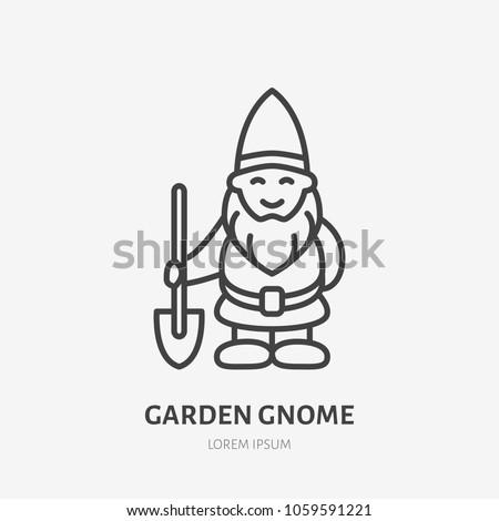 Smiling garden gnome flat, dwarf line icon. Thin linear logo for gardening store.