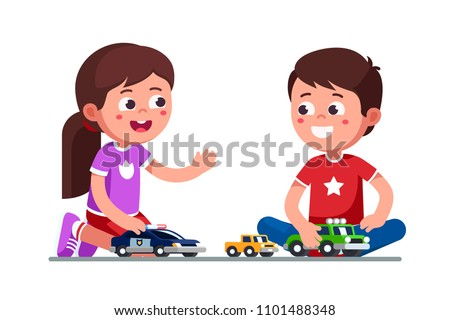 Smiling girl & boy kids playing with toy cars. Happy kids playing together. Children cartoon characters sitting on floor with toy cars and trucks. Child preschool development. Flat vector illustration