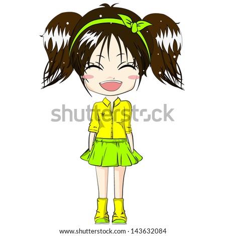 smiling girl cute girl cartoon