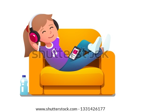 Smiling girl kid lying in armchair enjoying music melody playing on phone in modern wireless headphones. Music lover child relaxing having fun. Entertainment leisure joy. Flat vector illustration