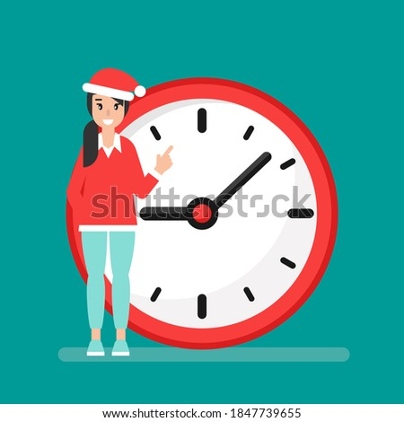 smiling girl with red clock and Santa Hat isolated on blue background. Fast time stop watch, limited offer, deadline. Vector illustration. Holidays schedule. Christmas sales, countdown.