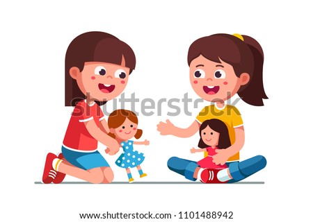 Smiling girls kids playing with dolls. Happy, kids playing together. Child cartoon characters with cute dolls. Childhood and preschool development. Flat vector illustration isolated on white