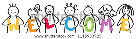 Smiling group of stick figures holding colorful letters, men and women, WELCOME, isolated on white background