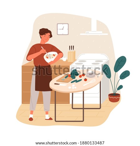 Smiling guy in apron cooking vegetable salad at home kitchen vector flat illustration. Happy man preparing healthy vegetarian meal for lunch, mixing ingredients in bowl isolated on white background