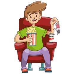 Smiling Guy Sitting in a Cinema Theater with 3D Glasses, a Bucket of Popcorn and a Glass of Soda with a Straw. Cartoon illustration on white background
