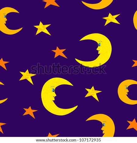 Smiling half moon and bright stars seamless pattern illustration