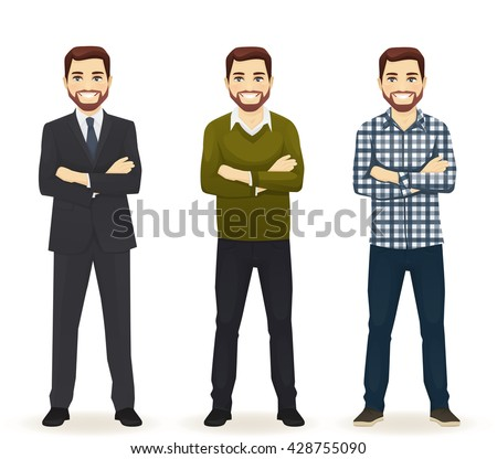 Smiling handsome man in different style clothes with arms crossed standing isolated on white background