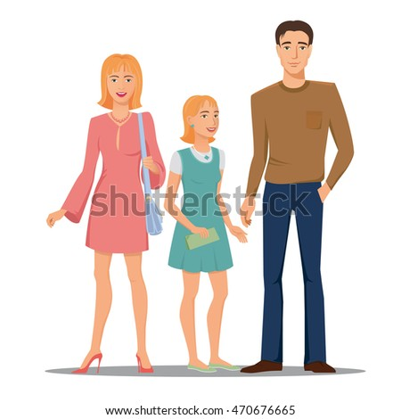 Smiling, happy family - father, mother and daughter, peoples, vector, colored, isolated. #470676665