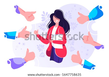 Smiling happy young woman surrounded by hands with thumbs up. Concept of public approval, acknowledgment, recognition, acceptance and appreciation. Colorful vector illustration in flat cartoon style Foto stock ©