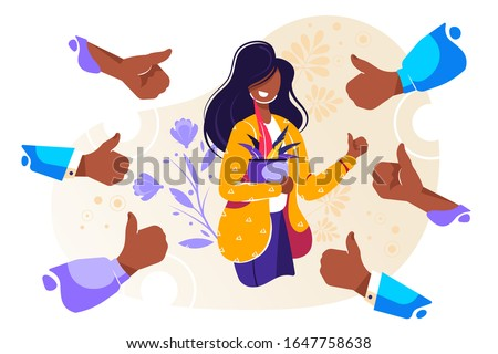 Smiling happy young woman surrounded by hands with thumbs up. Concept of public approval, acknowledgment, recognition, acceptance and appreciation. Colorful vector illustration in flat cartoon style Foto d'archivio ©