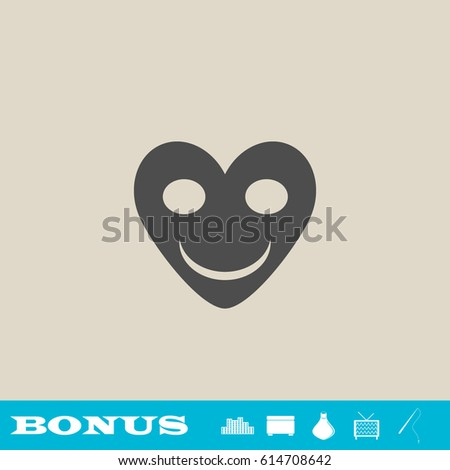 smiling heart icon flat grey