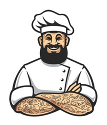 Smiling hipster chef with beard and tattoos in arms crossed pose. Stylish chef cook art isolated on white. Vector illustration.