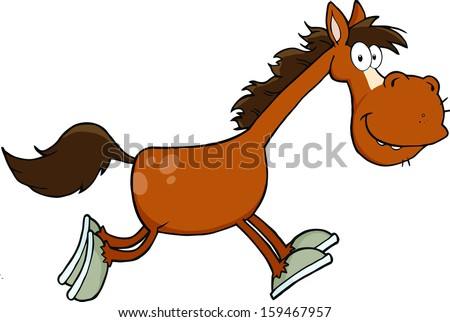 smiling horse cartoon character