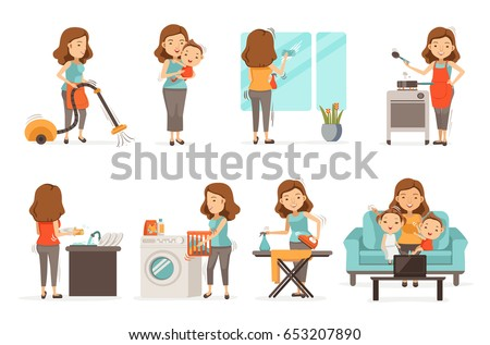 Smiling housewife and happy activities Set of affairs woman. Baby care , irons, vacuums, cleans, cooks,Wash dishes,Wipe the mirror, brings up children, video call. Isolated on white background