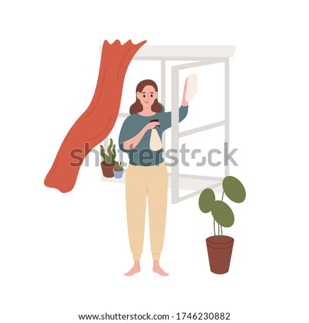 Smiling housewife cleaning window at home vector flat illustration. Cute female enjoying housework isolated on white background. Woman holding rag and cleanup spray washing glass