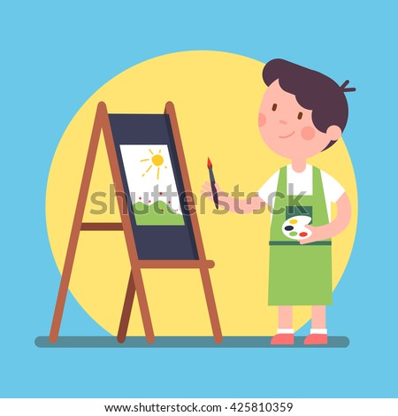 smiling kid artist painting a