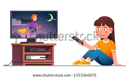 Smiling kid watching tv, switching channels with remote control in hand. Girl sinking and wasting free time watching movie on flat screen sitting. Cartoon character. Flat isolated vector illustration