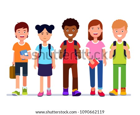 2a7f976212 Smiling kids school students walk together holding books   schoolbags    carrying backpacks. Multiracial kid