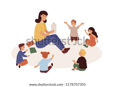 Smiling kindergarten teacher and kids flat vector illustration. Woman tutor and preschoolers reading in nursery. Babysitter and children cartoon characters. Primary education, preschool development.