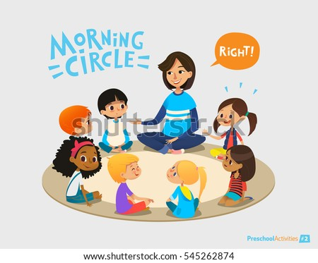Smiling kindergarten teacher talks to children sitting in circle and asks them questions. Preschool activities and early childhood education concept. Vector illustration for poster, website banner