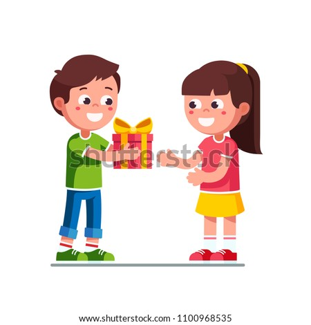 Smiling little boy kid giving girl birthday ribbon bow gift box. Children cartoon character excited kid child receiving gift from girlfriend. Child hand over holiday present. Flat vector illustration