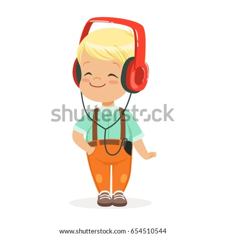 smiling little boy listening to