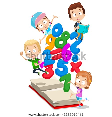 Smiling little children studying arithmetics. Mathematics banner with kids and math symbols. Primary school education and knowledge vector illustration. Happy preschool pupils personages having fun.