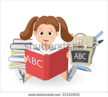 smiling little girl with a book