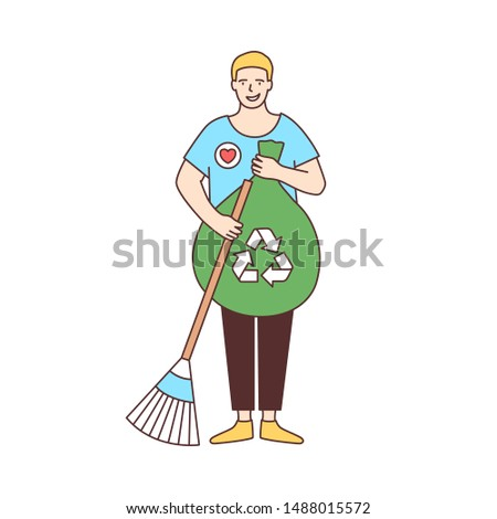 Smiling male volunteer with broom and recycling bag sweeping street isolated on white background. Ecological activism, eco volunteering, altruistic activity. Vector illustration in line art style.