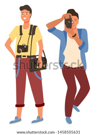 Smiling man and woman character photographing, people in casual clothes shooting. Photographers male and female focusing lens and do photo, paparazzi equipment vector